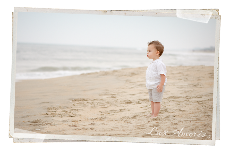 Boy on the beach, nervously watching the waves by Harford County MD Child Photographer Jen Snyder/Lux Amoris
