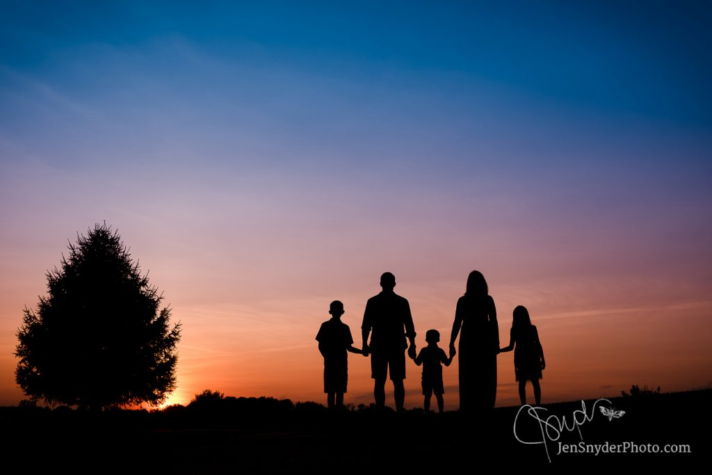 family photo in silhouette